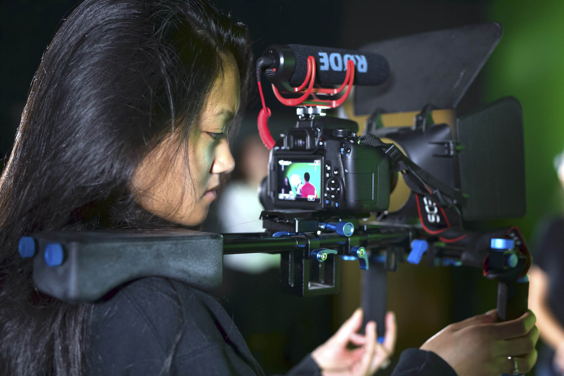 VoTech students practices filming